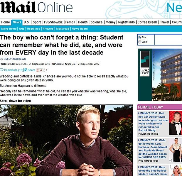 Memória (Foto: Daily Mail/Reprodução)