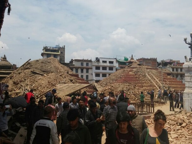 Capixaba registrou escombros após terremoto no Nepal (Foto: Marcelo Gama/ Arquivo Pessoal)