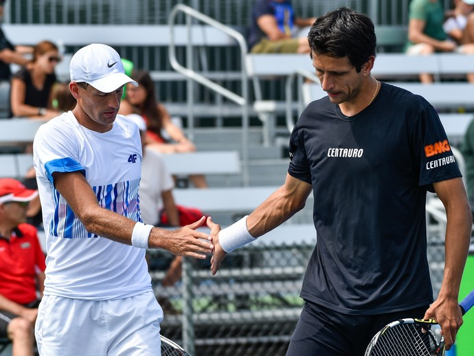 Lukasz Kubot e Marcelo Melo no Masters 1000 de Montreal (Foto: Minas Panagiotakis / GETTY IMAGES NORTH AMERICA / AFP)