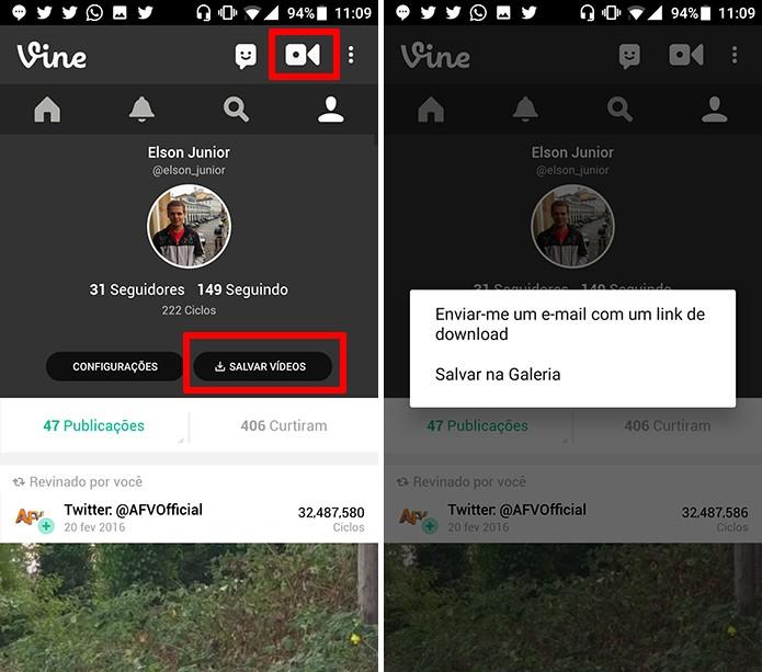 Usuário pode salvar vídeos do Vine no celular ou receber link por e-mail (Foto: Reprodução/Elson de Souza)