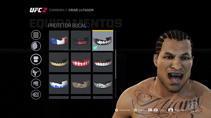EA Sports UFC 2 tem até personalização de protetor bucal (Foto: Reprodução/Thiago Barros)