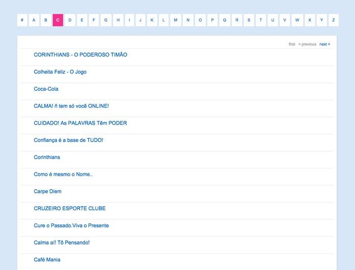 Lista de comunidades do arquivo de comunidades do Orkut (Foto: Reprodução/André Sugai)
