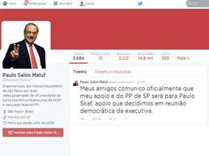 Maluf anuncia apoio a Skaf (Foto: Reprodução/Twitter)