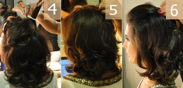 Acompanhe os últimos detalhes do penteado de Fátima (Foto: Encontro com Fátima Bernardes/ TV Globo)