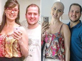 Roberta ao lado do marido antes e depois do tratamento (Foto: Arquivo Pessoal)