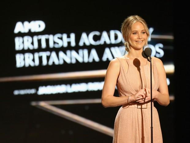Jennifer Lawrence em premiação em Los Angeles, nos Estados Unidos (Foto: Frederick M. Brown/ Getty Images/ AFP)