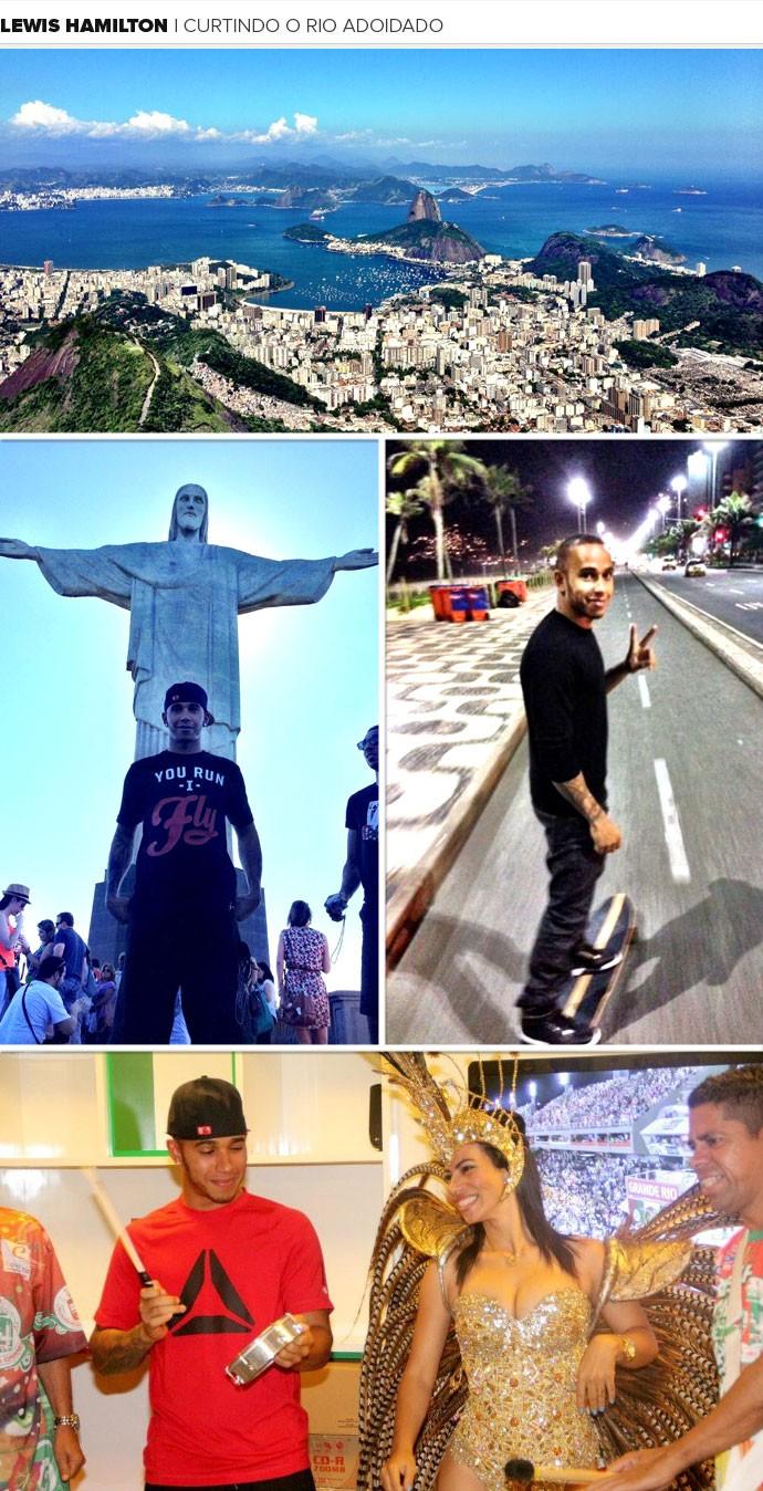 Mosaico Lewis Hamilton Rio de Janeiro (Foto: Editoria de arte)