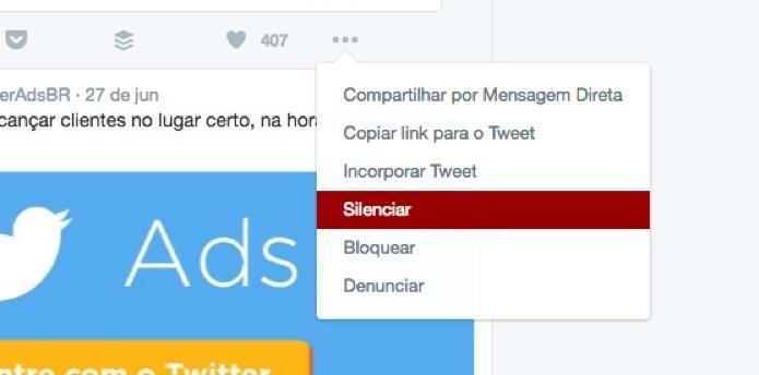 Opção de silenciar usuário no Twitter (Foto: Reprodução/André Sugai) (Foto: Opção de silenciar usuário no Twitter (Foto: Reprodução/André Sugai))