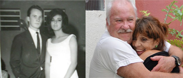 Casal em Mogi das Cruzes em 1963 e depois em 2012 (Foto: Arquivo pessoal)