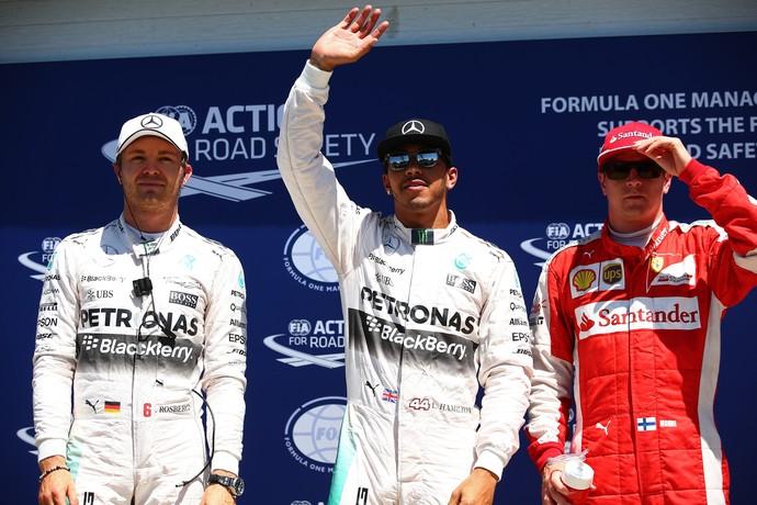 Lewis Hamilton, entre Nico Rosberg e Kimi Raikkonen. Os três primeiros no treino classificatório para o GP do Canadá (Foto: Getty images)