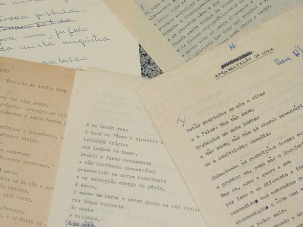 Alguns originais de poesias e canções do Poeta Torquato Neto (Foto: UPJ Produções)