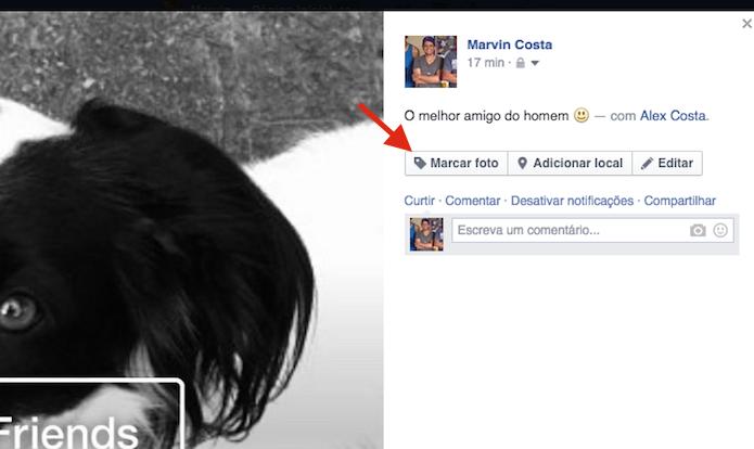 Iniciando a marcação de uma foto do Facebook (Foto: Reprodução/Marvin Costa)