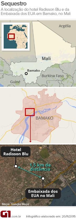 Localização do hotel Radisson Blu, sequestrado por homens armados em Bamako, Mali (Foto: G1/Arte)