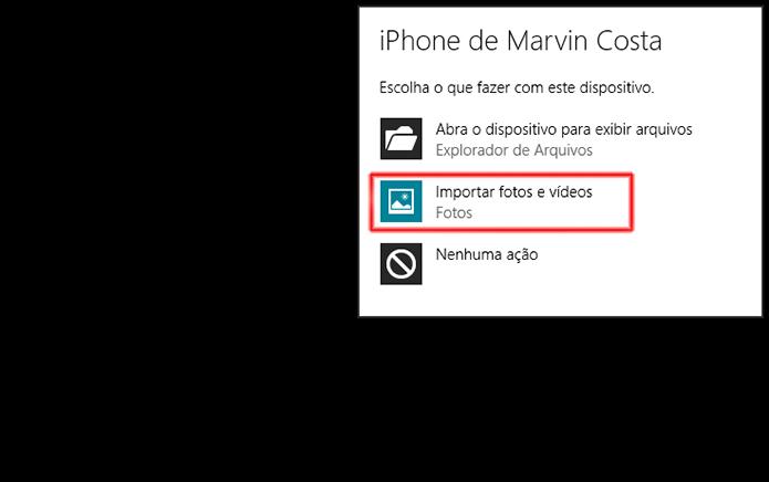 Iniciando a importação de fotos e vídeos do iPhone (Foto: Reprodução/Marvin Costa)