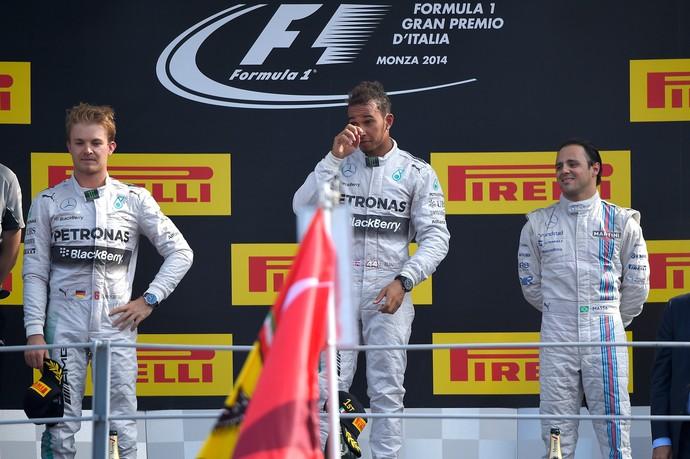 Rosberg, Hamilton e Massa pódio GP da Itália (Foto: AFP)