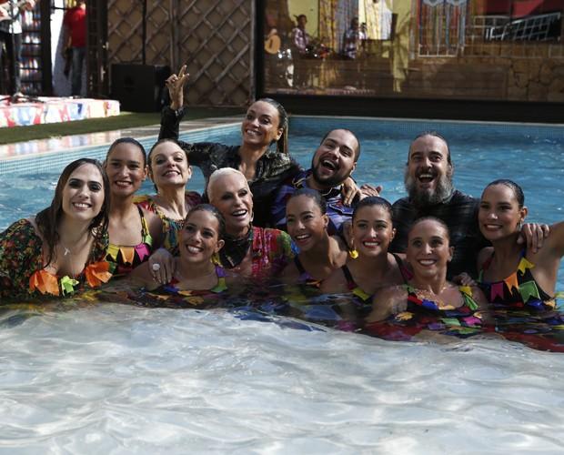 Todo mundo na piscina do BBB! (Foto: Inácio Moraes/Gshow)