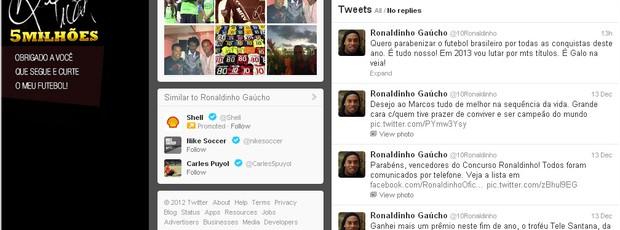 Ronaldinho Gaúcho destaca ano de conquistas do futebol brasileiro (Foto: Reprodução / Twitter)