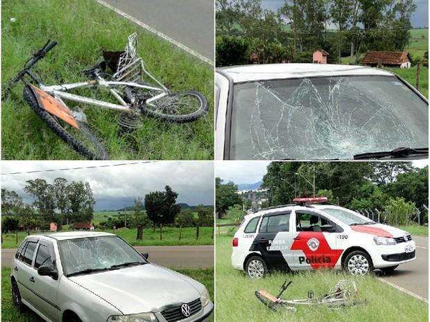 Homem em bicicleta foi atingido por carro na Reta da Santa Cruz (Foto: Rodrigo Oliveira/Descalvado Agora)
