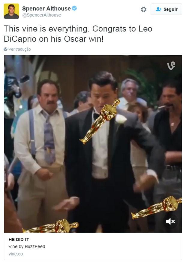 A vitória de Leonardo DiCaprio no Oscar rendeu muitos memes na internet (Foto: Reprodução/Twitter/@SpencerAlthouse)