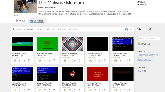 Archive.org oferece museu virtual de vírus e malwares (Foto: Reprodução/Barbara Mannara)