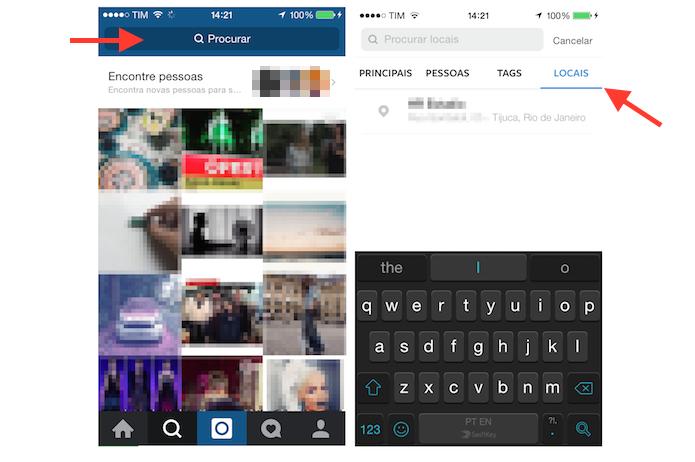 Acessando a pesquisa por locais no Instagram para iPhone (Foto: Reprodução/Marvin Costa)
