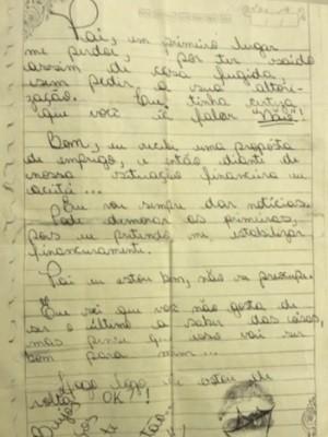 Garota de 17 anos foge de casa e deixa carta para o pai em Goiânia, Goiás: 'Me perdoe' (Foto: Reprodução/TV Anhanguera)