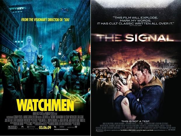 Cartazes de 'Watchmen' e 'The signal', dois filmes relacionados a tragédias (Foto: Reprodução)