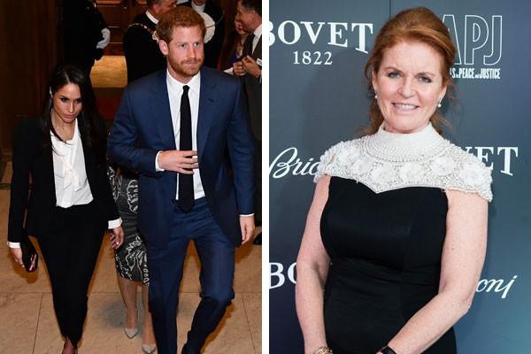 Meghan Markle e príncipe Harry, ao lado, Sarah Fergunson (Foto: Getty Images)