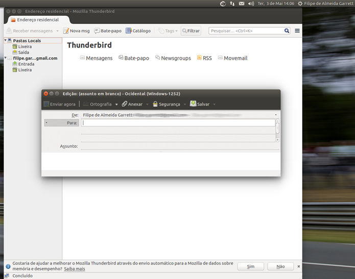 Normalmente associado com o Linux, o Thunderbird também tem versões para Mac e Windows (Foto: Reprodução/Filipe Garrett)