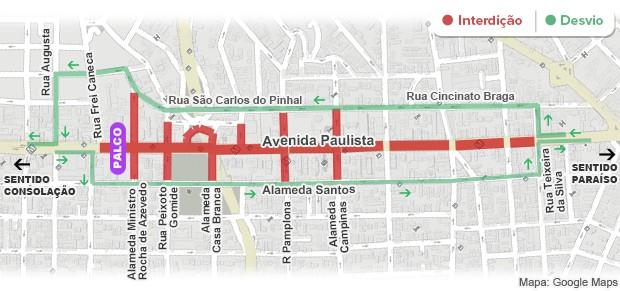 Mapa das interdições na Avenida Paulista - 4h (Foto: Arte/G1)