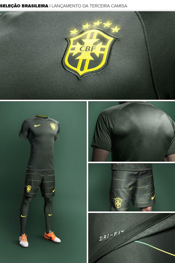 MOSAICO - lançamento terceiro uniforme da Seleção brasileira 2014 (Foto: Divulgação)