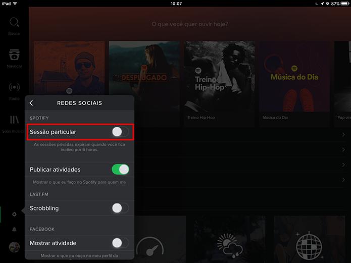 Spotify tem sessão particular para ocultar reprodução em tablets (Foto: Reprodução/Elson de Souza)