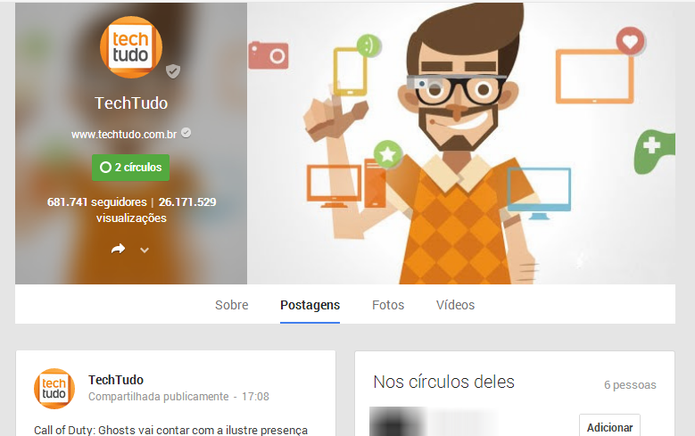 Google+ também exibe as visualizações dos perfis de amigos e figuras públicas, mas recurso pode ser desativado (Foto: Reprodução/Elson de Souza)