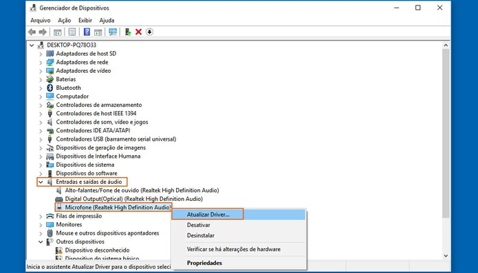 Clique para atualizar o driver responsável pelo microfone no som do PC (Foto: Reprodução/Barbara Mannara)