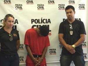 Polícia Civil apresentou homem que estuprou duas vítimas (Foto: Juliana Gorayeb/G1)