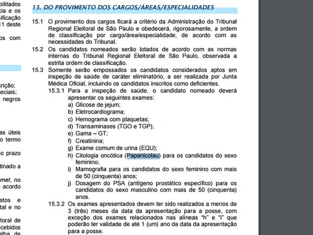 Edital de concurso do TRE-SP exige Papanicolau de mulheres em fase eliminatória (Foto: Reprodução/Edital TRE-SP)