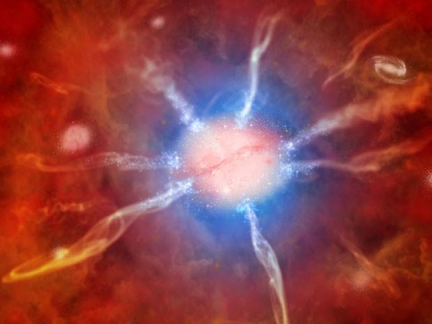 Ilustração mostra a galáxia central do aglomerado Fênix, que gera 740 novas estrelas anualmente (Foto: AP/Nasa)