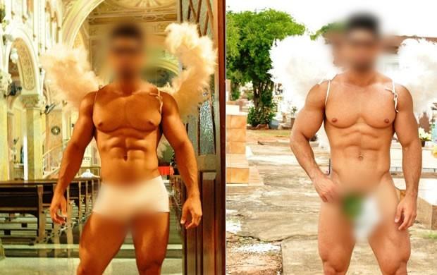 Primeiras fotos mostravam homem de cueca e asas em igreja e cemitério (Foto: Reprodução / TV Tem)