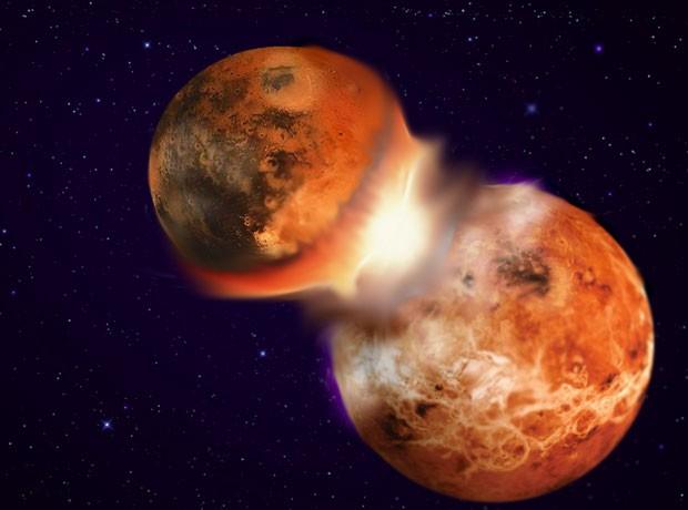 Concepção artística representa colisão entre dois corpos planetares de composição similar, levando à formação da Lua  (Foto: Hagai Perets/Divulgação)