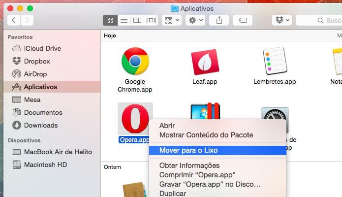 Apagando Opera do Mac OS X (Foto: Reprodução/Helito Bijora)