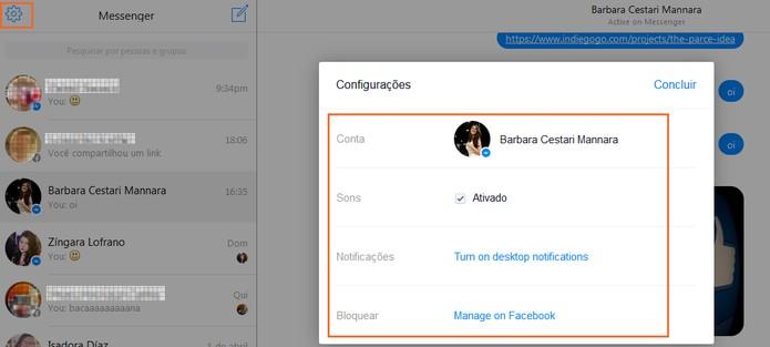 Configurações do Messenger web (Foto: Reprodução/Barbara Mannara)