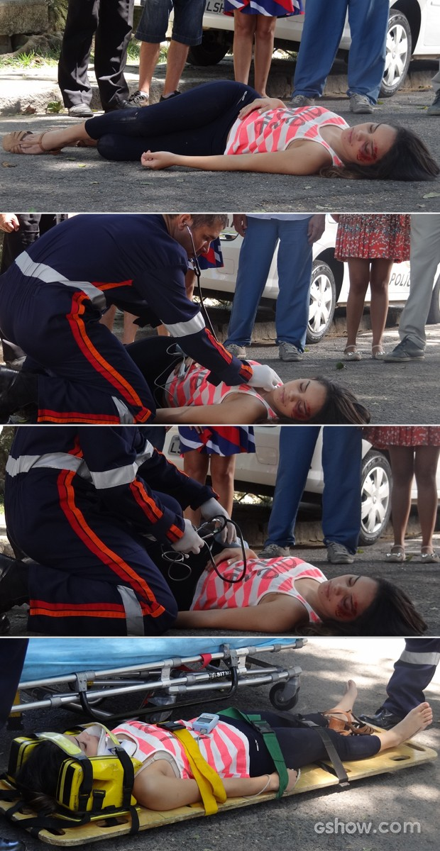 Gorete é atropelada e é atendida pelo socorro (Foto: Em Família/ TV Globo)