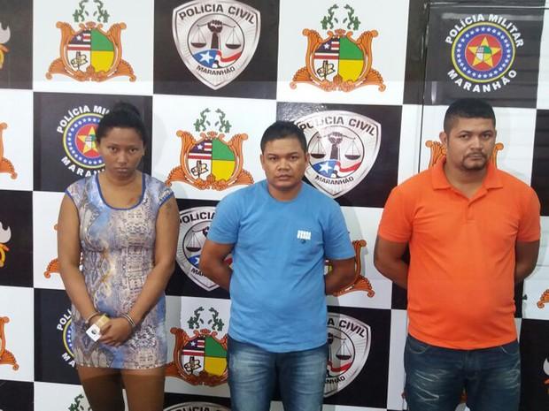 Márcia Suelen Silva Costa, Robson Pereira Amorim e Marcos da Silva Santos foram presos em flagrante durante a operação (Foto: Divulgação/Polícia Civil)
