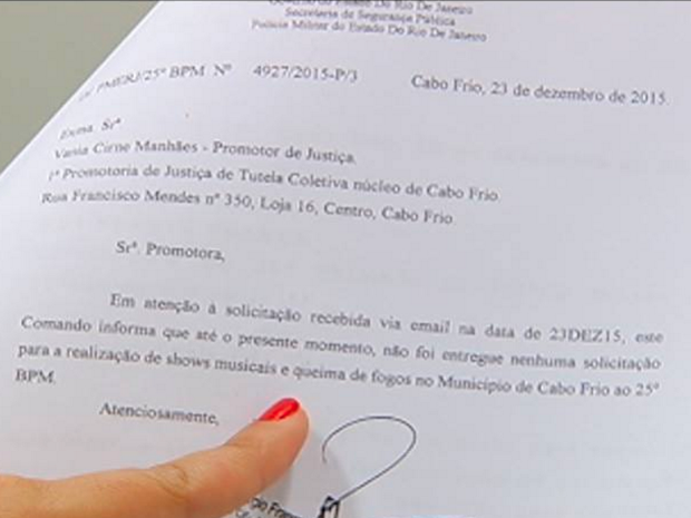 Ofício enviado pela Polícia Militar confirma que não houve pedido de autorização para o evento (Foto: Reprodução/ Inter TV)