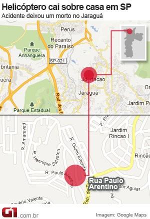 mapa queda helicóptero (Foto: Arte/G1)