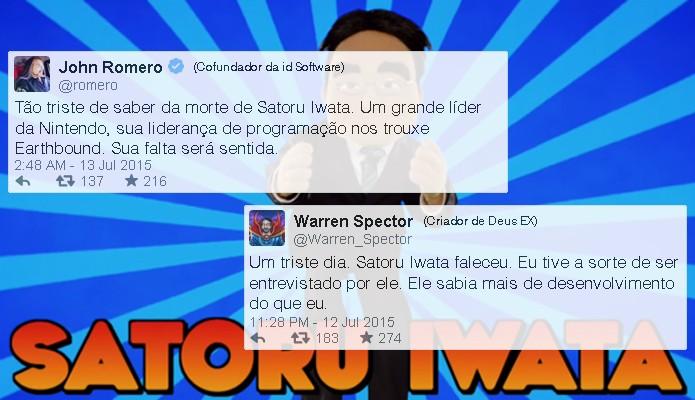 Famosos desenvolvedores John Romero e Warren Spector também comentaram a perda (Foto: Reprodução/Rafael Monteiro)