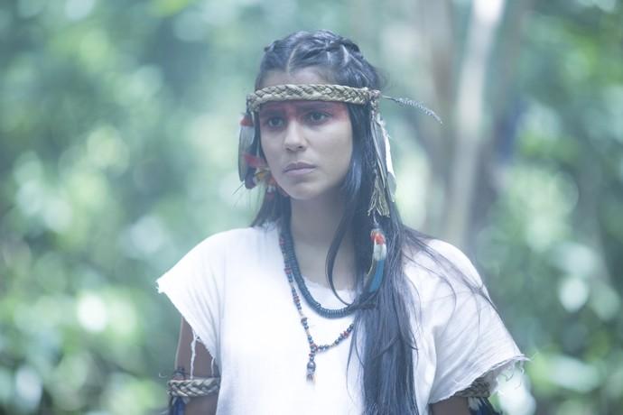 Jurema Reis tem o papel com o mesmo nome: Jurema; ela será casada com Ubirajara, personagem de Allan Souza Lima, e pertencerá à aldeia dos tucaré (Foto: Ellen Soares/ Gshow)