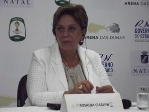 """Governadora Rosalba Ciarlini cometeu gafe ao chamar Jérôme Valcke de """"presidente"""" (Foto: Tiago Menezes)"""