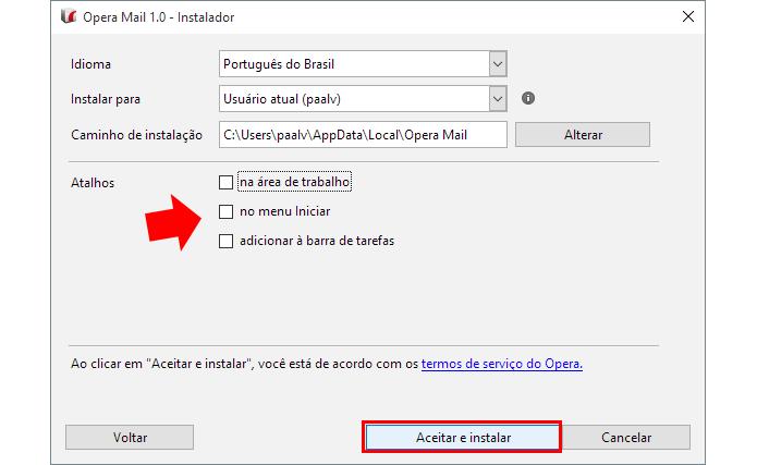 Exclua ou adicione atalhos do Opera Mail no Windows (Foto: Reprodução/Paulo Alves)