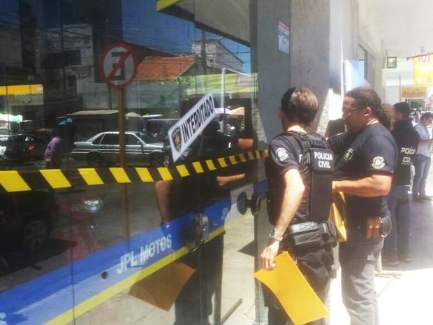 Loja JPL Motos foi alvo da operação Roper, realizada nesta sexta-feira (9) em Mossoró (Foto: César Filho/Mossoró Notícias)